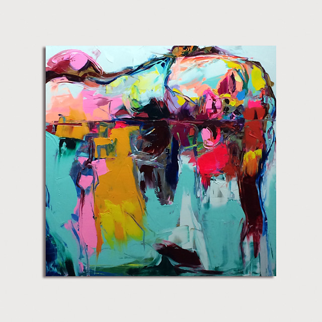 Oil Painting Hand Painted Square Abstract Modern Rolled Canvas (No Frame)