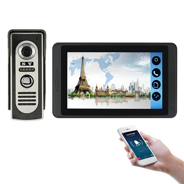 618M11 7 inch capacitive touch screen video camera wired video doorbell wifi / 3G / 4G remote call unlock storage visual intercom one to one