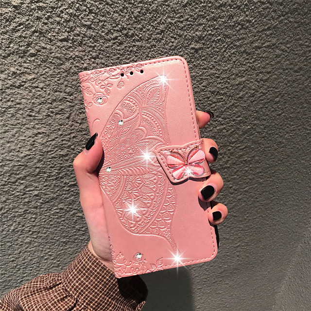 Case For LG LG Stylo 4 / LG Q7 / LG K40 Wallet / Card Holder / Rhinestone Full Body Cases Butterfly / Flower Soft PU Leather