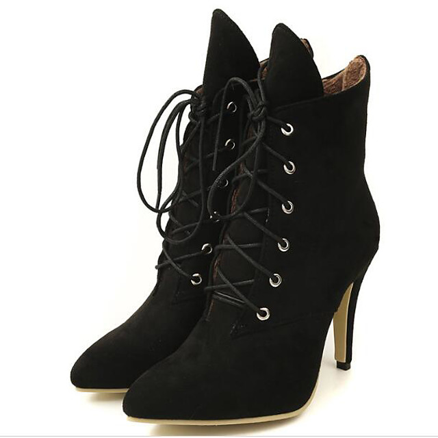 Women's Suede Fall & Winter Boots Stiletto Heel Mid-Calf Boots Black / Gray / Yellow