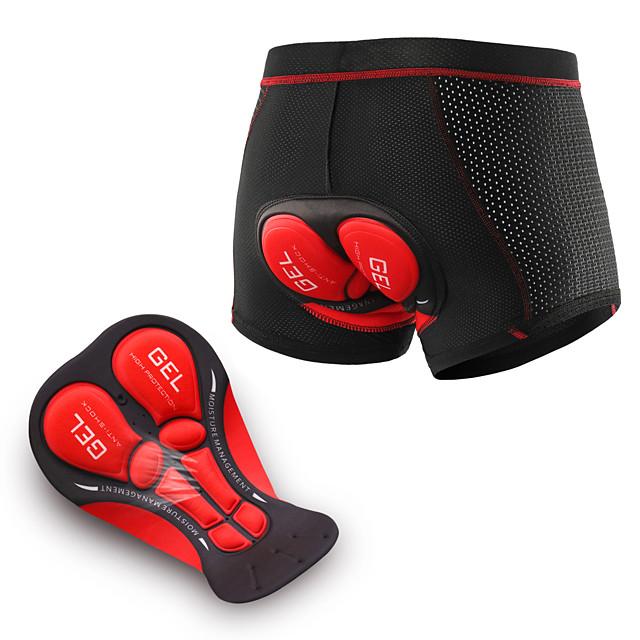 Arsuxeo Men's Cycling Under Shorts Elastane Bike Underwear Shorts Padded Shorts / Chamois Bottoms Breathable 3D Pad Moisture Wicking Sports Black / Red / Black Mountain Bike MTB Road Bike Cycling