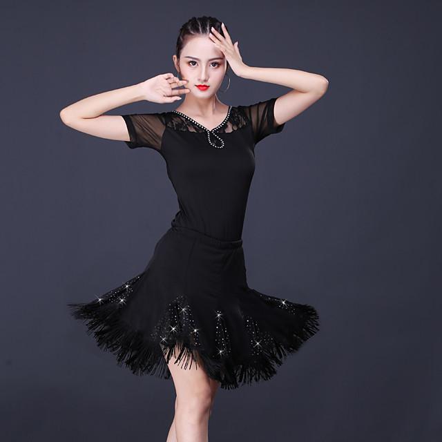Latin Dance Skirts Lace Glitter Tassel Women's Training Performance Short Sleeve High Lace Milk Fiber Polyester