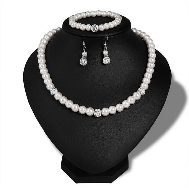 Women's Pearl Bridal Jewelry Sets Retro Love Stylish Elegant Cute Imitation Pearl Earrings Jewelry Silver For Wedding Party Daily 1 set
