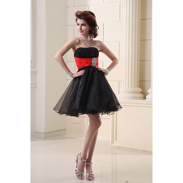 A-Line Hot Black Homecoming Cocktail Party Dress Strapless Sleeveless Short / Mini Organza with Crystals 2020