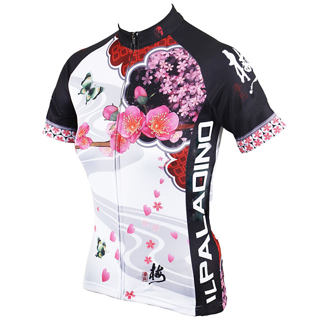 ILPALADINO Women's Short Sleeve Cycling Jersey Summer Polyester White Blue Red Floral Botanical Plus Size Bike Jersey Top Mountain Bike MTB Road Bike Cycling Ultraviolet Resistant Quick Dry Breathable