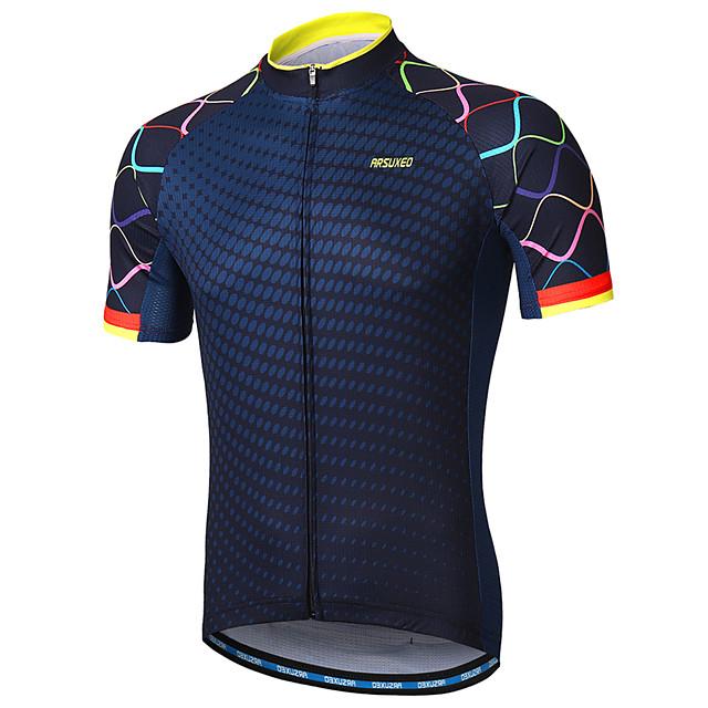 Arsuxeo Erkek Kısa Kollu Bisiklet Forması Polyester Donanma Mor Sarı Gradient Bisiklet Forma Dağ Bisikletçiliği Yol Bisikletçiliği Yansıtıcı çizgili Pochłanianie potu Spor Dalları Giyim