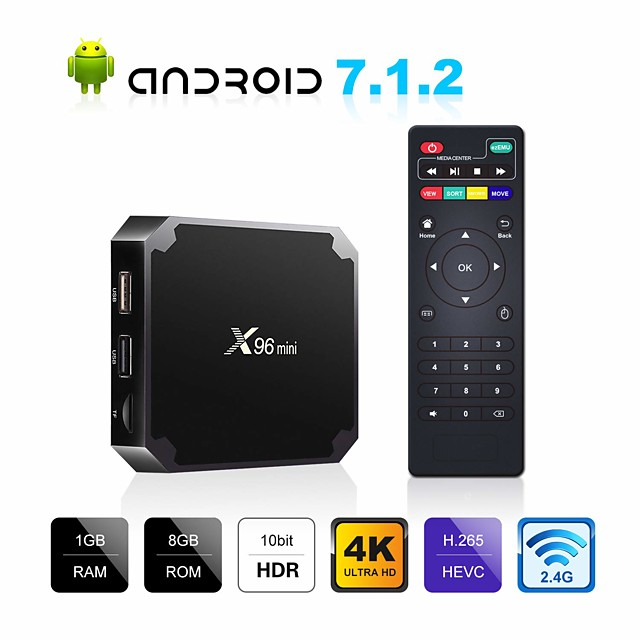 X96 mini Android TV BOX X96mini Android 7.1 Smart TV Box 2GB 16GB Amlogic S905W Quad Core 2.4GHz WiFi Android 9.0 1GB8GB