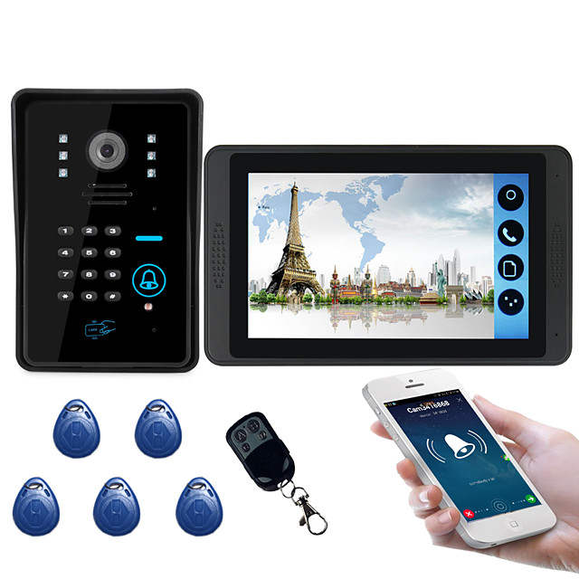 618MJIDS11 7 inch capacitive touch screen video camera wired video doorbell wifi / 3G / 4G remote call unlock storage outdoor machine password card