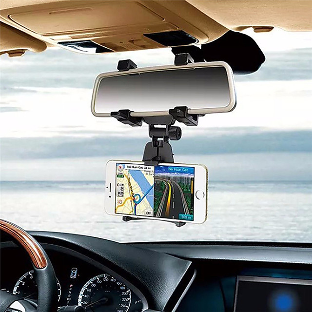 Car Rearview Mirror Mount Phone Holder 360 Degree Adjustable Cell Phone Holder
