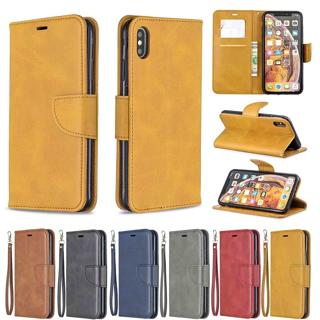 Phone Case For Apple Full Body Case Leather Wallet Card iPhone 12 Pro Max 11 SE 2020 X XR XS Max 8 7 6 Wallet Card Holder Shockproof Solid Color Hard PU Leather