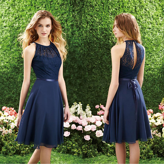 A-Line Minimalist Blue Homecoming Cocktail Party Dress Halter Neck Sleeveless Short / Mini Chiffon with Lace Insert 2020