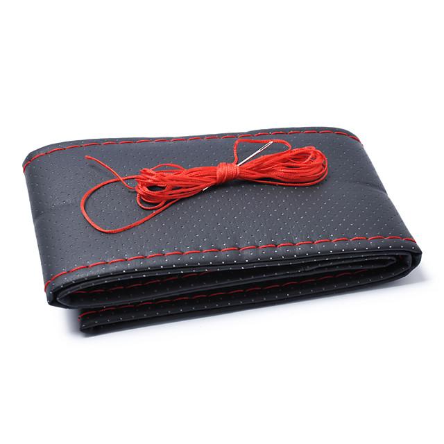 38cm Diameter Handmade Microfiber Leather Steering Wheel Cover Red  Black Cover