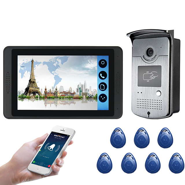 618MJIDS11 7 inch capacitive touch screen video camera wired video doorbell wifi/3G/4G remote call unlocking storage outdoor machine card function