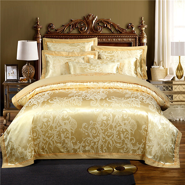 Luxury Bedding Sets Floral Duvet Cover Sets 4 Piece Satin Embroidery Duvet Cover Set White/Yellow Luxury European Neoclassical Style (1 Duvet Cover, 1 Flat Sheet, 2 Shams)