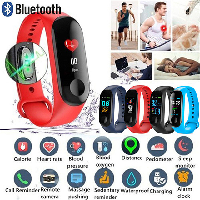 M3 Smart Wristband Big Touch Screen OLED Message Heart Rate Time Fitness Bracelet Smartband Watch for Android IOS Bracelet Watch