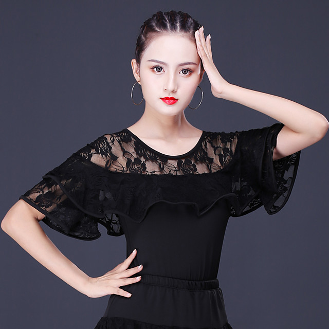 Latin Dance Top Lace Women's Training Performance Short Sleeve Lace Milk Fiber Polyester