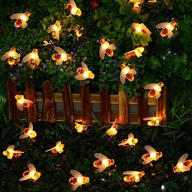 6m 30 LEDs Solar Honey Bee String Lights Warm White Waterproof Thanksgiving Christmas Halloween Decoration Solar Powered 1 set