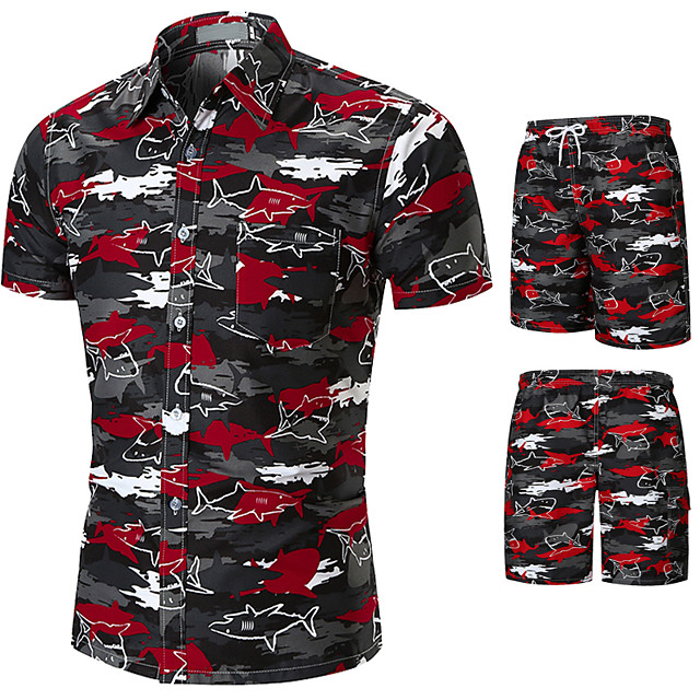 Men's Swim Shirt Swim Trunks Rash Guard Sun Shirt Board Shorts Breathable Quick Dry UPF50+ Short Sleeve 2-Piece - Swimming Surfing Water Sports Painting Summer