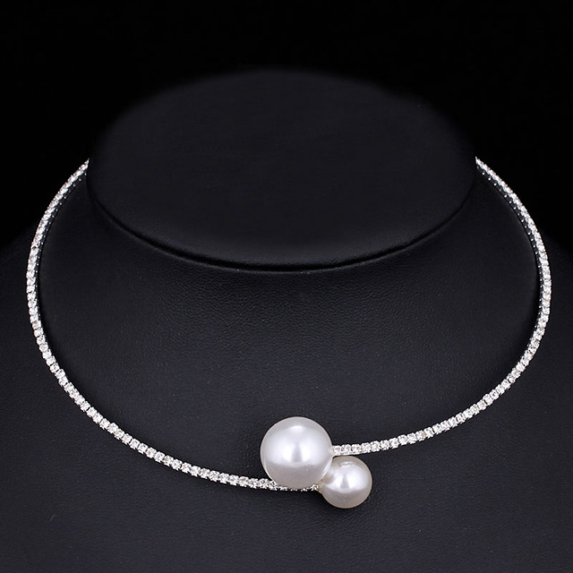 Women's Choker Necklace Torque Simple Elegant Korean Sweet Imitation Pearl Chrome Imitation Diamond Gold Silver 44 cm Necklace Jewelry 1pc For Wedding Gift Daily Engagement Work