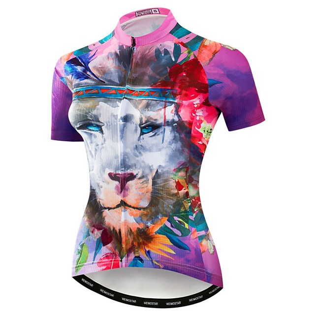 21Grams Women's Short Sleeve Cycling Jersey Elastane Polyester Violet 3D Animal Lion Bike Jersey Top Mountain Bike MTB Road Bike Cycling Breathable Quick Dry Moisture Wicking Sports Clothing Apparel