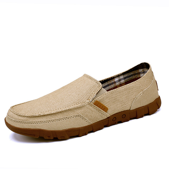 Men's Fall Daily Outdoor Loafers & Slip-Ons Running Shoes / Walking Shoes Mesh Breathable Non-slipping Shock Absorbing Khaki / Dark Blue / Gray / Hollow-out