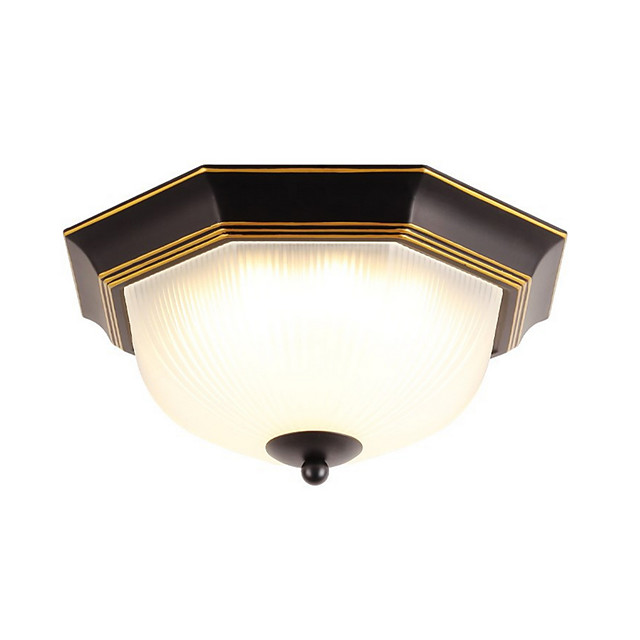 1-Light LED Ceiling Light Fixtures Glass Ceiling Lamp Antique Ceiling Light Round Shape Country Led Pendant Light Flush Mount for Bedroom Corridor Black