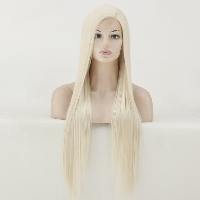 Synthetic Lace Front Wig Straight Matte Kardashian Side Part Lace Front Wig Blonde Long Platinum Blonde Synthetic Hair 22-26 inch Women's Heat Resistant Women Middle Part Blonde / Glueless