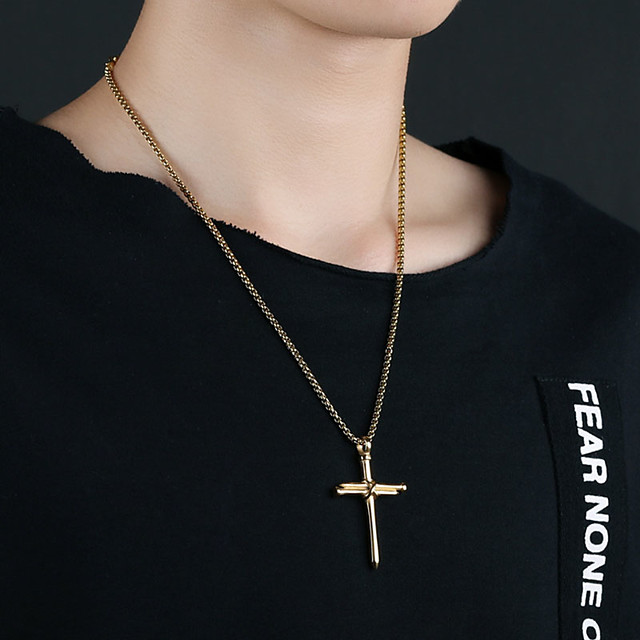 Men's Pendant Necklace Charm Necklace Classic Cross Punk Titanium Steel Black Gold Silver 50 cm Necklace Jewelry 1pc For Gift School Street Club Promise