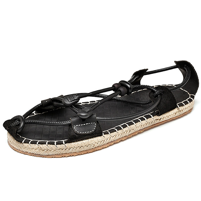Men's Comfort Shoes Faux Leather Spring & Summer Classic / Casual Sandals Breathable Black / Brown
