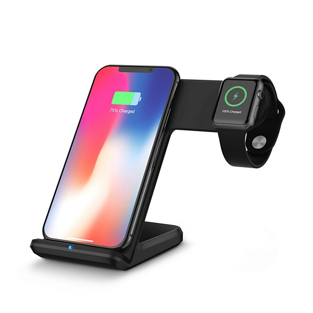 Desktop Charger  Wireless Charging Quick Charge Support Charging 2 Devices at the Same Time Dock Charger for Apple iWatch iPhone 11/11Pro/11Pro Max/X/XS/XS Max iWatch 5 4 3 2 1 and more