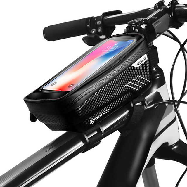 WILD MAN Cell Phone Bag Bike Frame Bag Top Tube 6.2 inch Touch Screen Waterproof Rainproof Cycling for iPhone 8 Plus / 7 Plus / 6S Plus / 6 Plus iPhone X Black Black-Red Road Bike Mountain Bike MTB