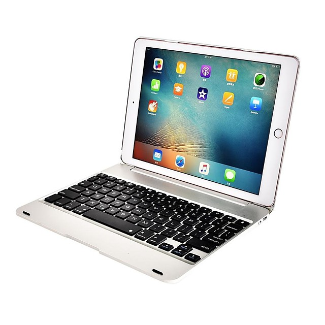 Phone Case For Apple Full Body Case iPad Air iPad Air 2 iPad Pro 9.7'' Shockproof Dustproof with Keyboard Solid Colored Hard Metal