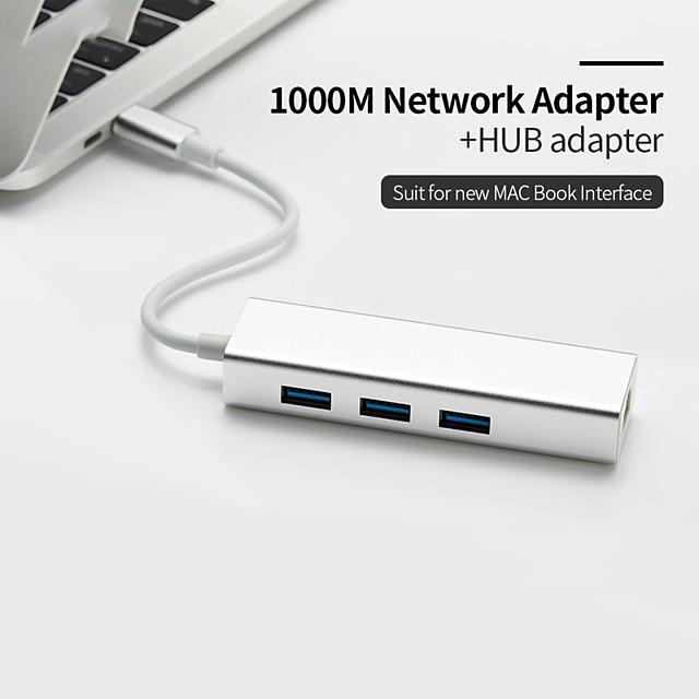 USB C Ethernet Rj45 Lan Adapter 3 Port USB Type C Hub 10/100/1000Mbps Gigabit Ethernet USB 3.0 Network Card for MacBook