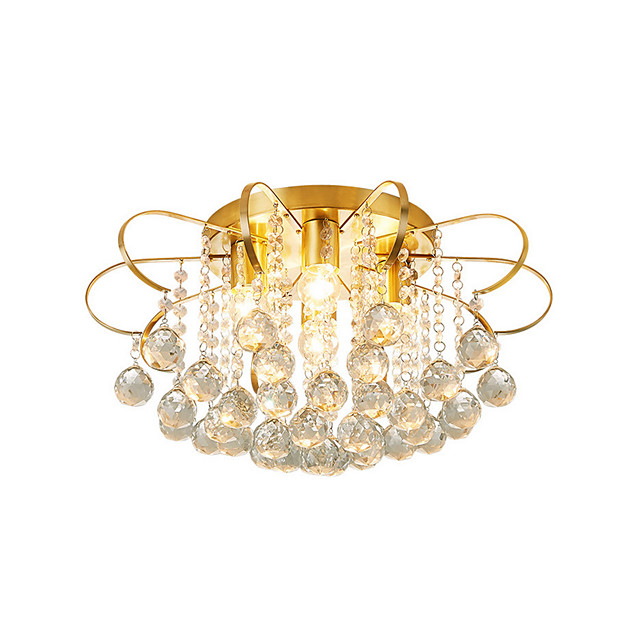 4-Light 4 Lights Crystal Ceiling Lamp Modern Luxury Raindrop Crystal Pendant Light Gold Chandeliers Crystal Beads Deco For Bedroom Dining Hall