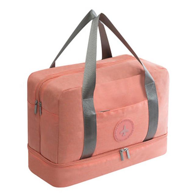 Canvas Travel Bag Travel Bag Travel Handbag Travel Bag Oxford Cloth Large Capacity Duffel Bag Short-Distance Outdoor Travel Bag Pink
