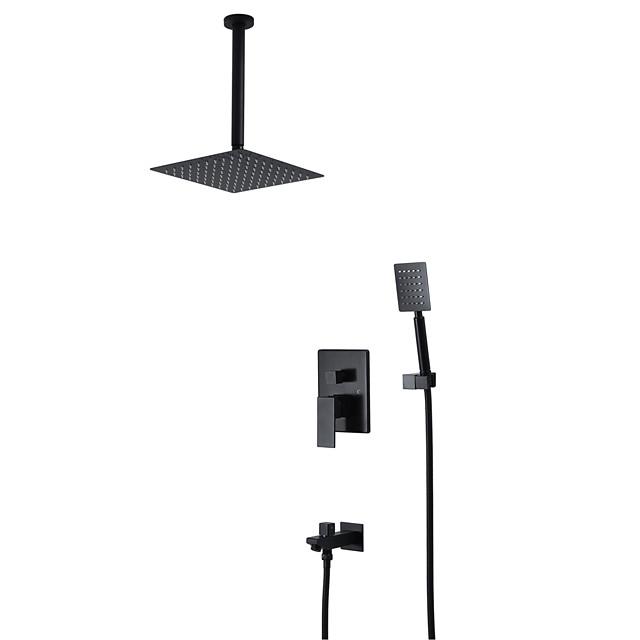 Black Shower Faucet - Contemporary Wall Installation Ceramic Valve Bath Shower Mixer Taps