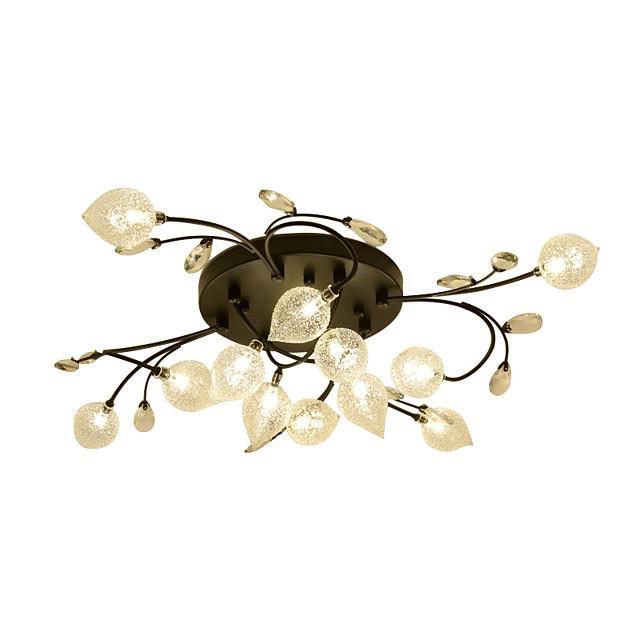 12 Bulbs ZHISHU 80 cm Crystal Creative Flush Mount Lights Metal Glass Cluster Empire Bowl Electroplated Artistic Chic & Modern 110-120V 220-240V G4