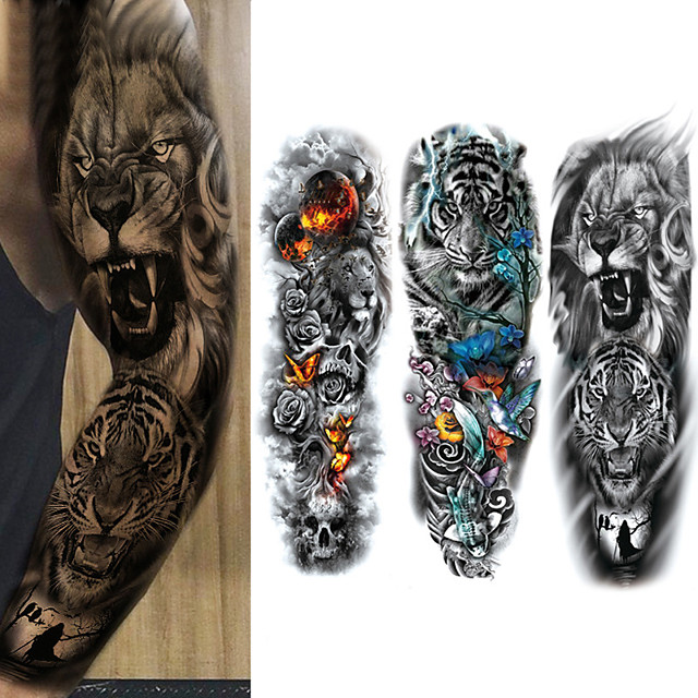 3 Pcs Temporary Tattoos Eco-Friendly  Disposable Body  Brachium   Full-Arm Temporary Tattoos Oversized Waterproof Removable Tattoo Arm Sleeves Oversized Tattoo Body Stickers Tattoo Stickers