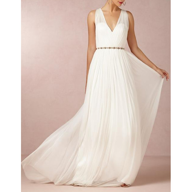 A-Line Wedding Dresses V Neck Sweep / Brush Train Chiffon Regular Straps Casual Backless with Beading 2021