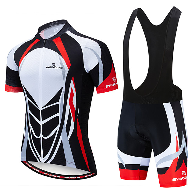 EVERVOLVE Men's Short Sleeve Cycling Jersey with Bib Shorts Summer Lycra White Yellow Black Bike Clothing Suit Anatomic Design Quick Dry Moisture Wicking Breathable Back Pocket Sports Patterned