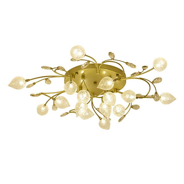 16 Bulbs ZHISHU 85 cm Crystal Creative Flush Mount Lights Metal Glass Cluster Empire Bowl Electroplated Artistic Chic & Modern 110-120V 220-240V G4