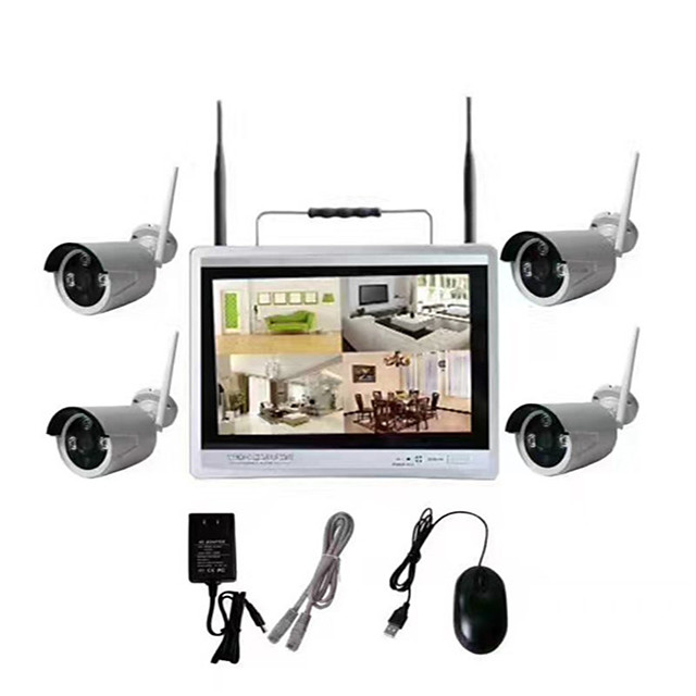 4ch 12 lCD Screen Monitor Home DIY Wireless NVR Kit Security Surveillance System