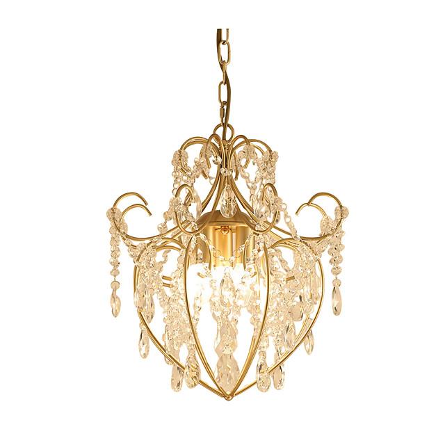 3-Light Vintage Metal/Crystal Chandelier Antique Iron Art Chandelier with Clear Hanging Crystal Ceiling Light Fixture Hanging Height Adjustable Golden