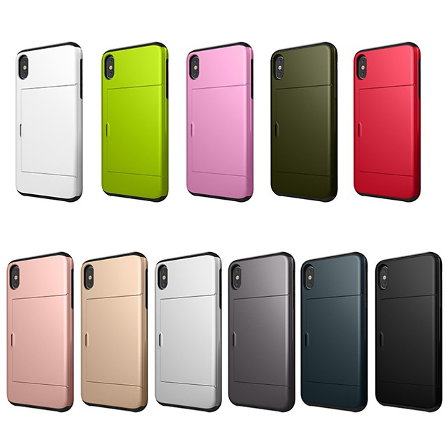 Case For Apple iPhone XS / iPhone XR / iPhone XS Max Card Holder / Shockproof Back Cover Solid Colored Hard PC