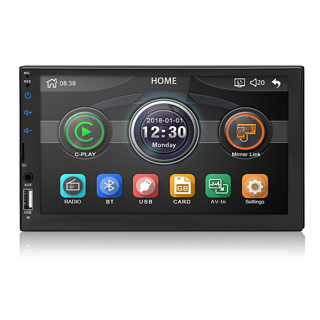Chelong 2din Car radio 7'' Carplay mp5 Mirror link Multimedia Player Bluetooth USB Rear View Camera MP5 Player Voice Control Touch Screen Supports Android/IOS For Apple MP3 Stereo Radio
