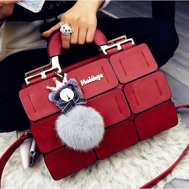 Women's Bags PU Leather Satchel Top Handle Bag Zipper Solid Color Handbags Daily Black Purple Red Gray