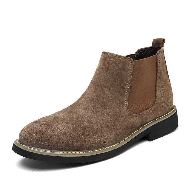 Men's Suede Shoes Suede Fall & Winter Classic / British Boots Walking Shoes Warm Mid-Calf Boots Khaki / Blue / Black / Chelsea Boots / Outdoor / Fashion Boots