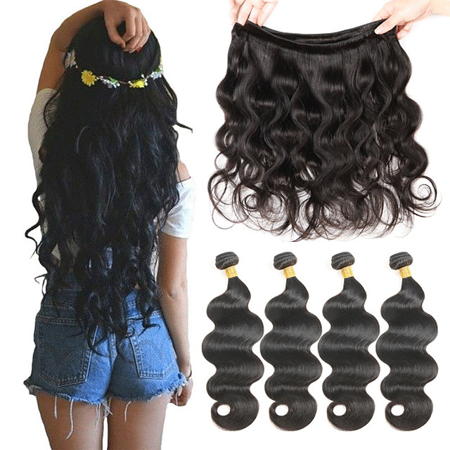 4 Bundles Brazilian Hair Body Wave Loose Wave Human Hair Natural Color Hair Weaves / Hair Bulk 8-26 inch Human Hair Weaves Human Hair Extensions