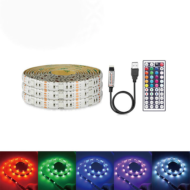Waterproof LED Light Strips USB DC 5V 5M 5050 RGB Tiktok Lights Tape TV Background Lighting DIY Home Decorative Lamp With 44Key Controller Set