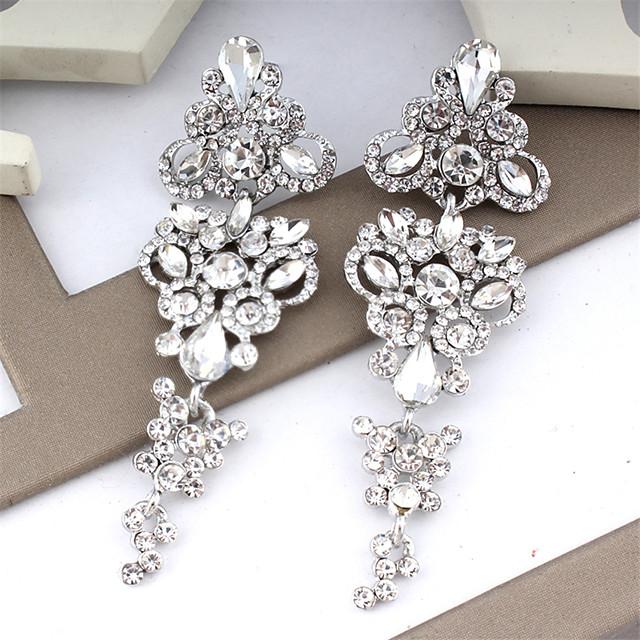 Women's White Earrings Chandelier Floral Theme Dangling Trendy Modern Elegant Earrings Jewelry Silver / Golden For Wedding Party Carnival Festival 1 Pair